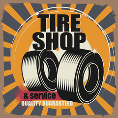 Abstract label with wheel and the words Tire shop, vector