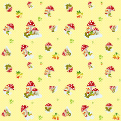 Seamless pattern with mushrooms on yellow