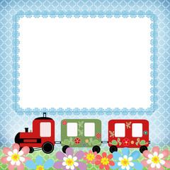 Baby train children photo framework on blue