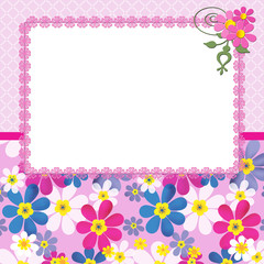 Floral frame with flowers and lace on pink