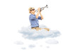 Young male musician playing a trumpet on clouds