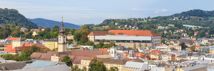 Linz Cityscape with Schlossmuseum and Tower of Upper Austrian La