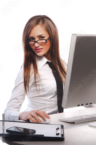 girl works on a computer
