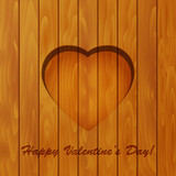 Valentine's day background. Heart and text on wooden background