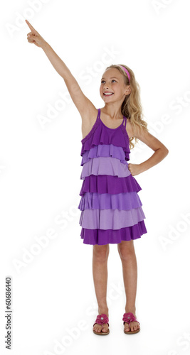 Little Girl Pointing Upward on White Background