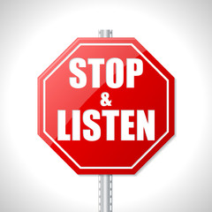Stop and listen traffic sign