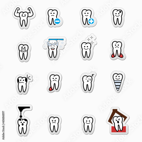 Tooth , teeth vector icons set