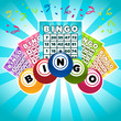 Colorful illustration of bingo cards and balls