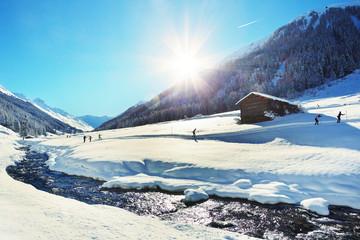Dischmatal bei Davos mit Langläufern - Schweiz