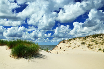 Beautiful Baltic dunes and dramatic Cumulus clouds