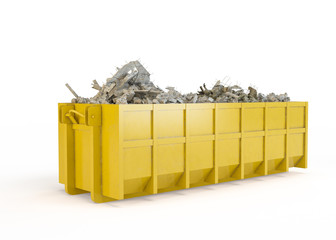 Rubble container isolated on white background