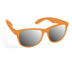 glasses of orange color on a white background with shadow