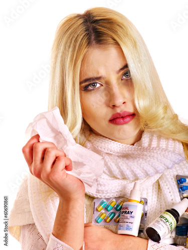 Young woman with handkerchief having  cold.
