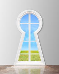 window  in form keyhole