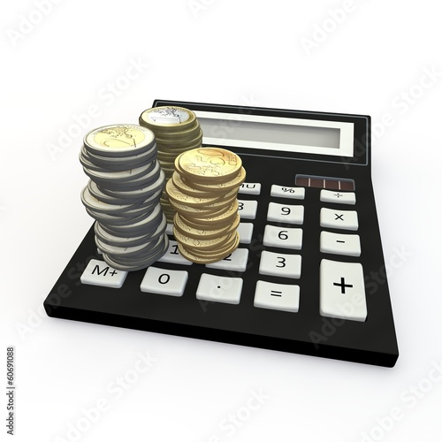 Calculator and euro coin