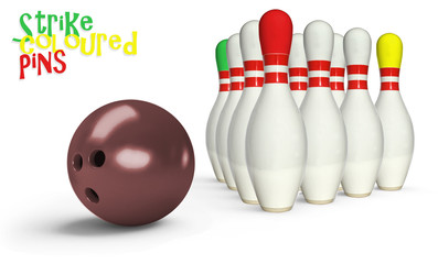 Bowling ten pin with ball