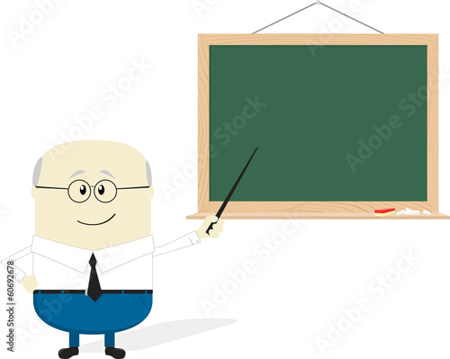 old teacher cartoon and blackboard