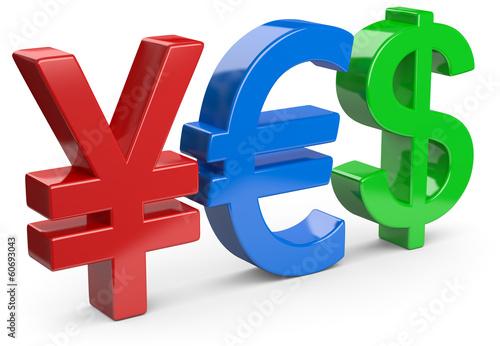 Yen Euro Dollar bunt