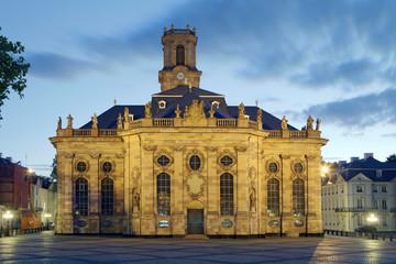 Ludwigskirche Saarbrücken beleuchtet