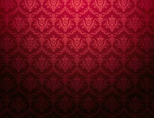 cardinal red floral pattern wallpaper