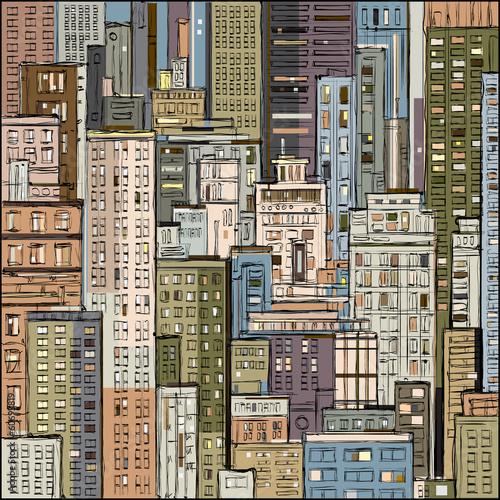 cityscape-recznie-rysowane-wektor