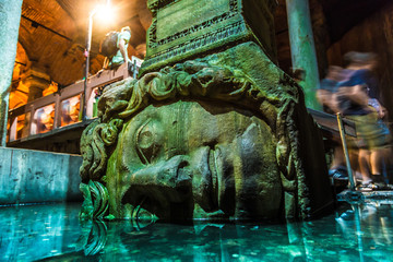 Medusa haed in The Basilica Cistern, Istanbul, Turkey.