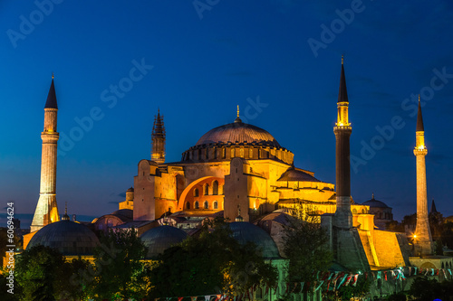 Hagia Sophia in Istanbul Turkey at night