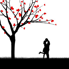 Couple and tree of love silhouette