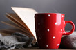 Cup of hot tea with book and plaid on table on gray background