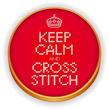 Keep Calm and Cross Stitch Embroidery, Crown, retro sewing hoop poster