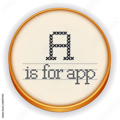 Embroidery, A is for app, Cross Stitch design, retro sewing hoop