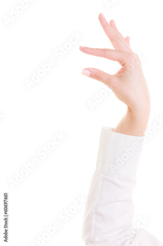 Measuring finger gesture isolated on white