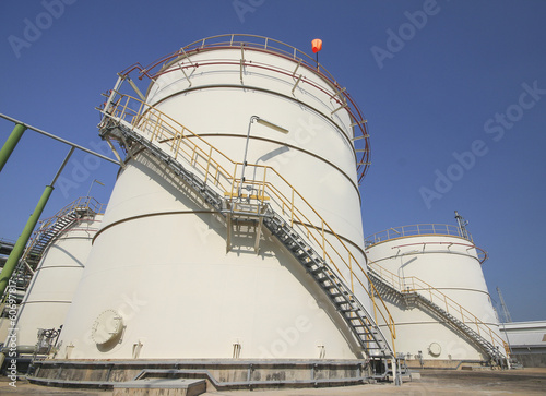 Tank storage with blue sky