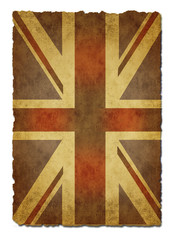 Old  paper Union Jack on white background