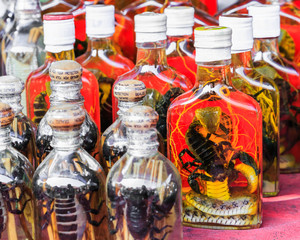 Herbal Liquor From Scorpion, Snake and Herb Soaked in Alcohol