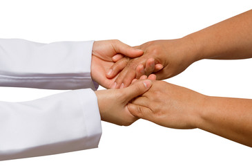 doctor's hand touches and holds patient 's hands,concept helping