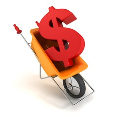 delivery cart with big red dollar sign