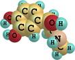 Adrenaline molecule on white background