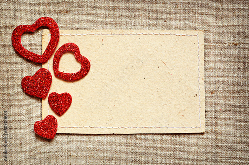 Valentine card on canvas background