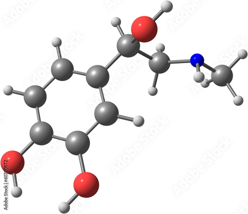 Adrenaline molecule on white background