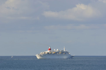 Transatlantic cruise ship sailing along the Atlantic