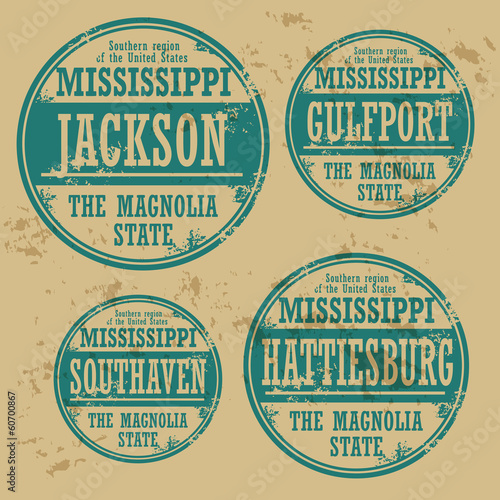 Grunge rubber stamp set with names of Mississippi cities