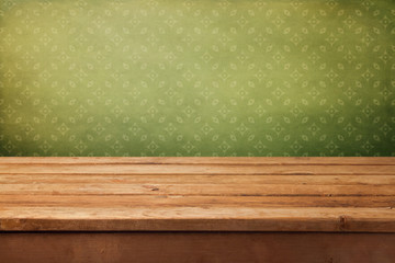 Vintage background with empty wooden deck table