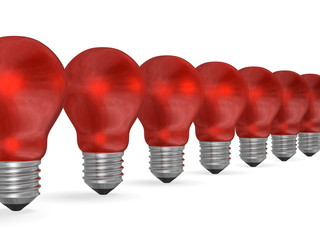 Row of red reflective light bulbs in perspective