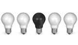 One black light bulb in row of many white ones. Front view poster