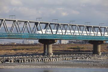 View of Fuji river  and Tokaido Shinkansen, Shizuoka, Japan