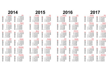calendar from 2014 to 2018 years