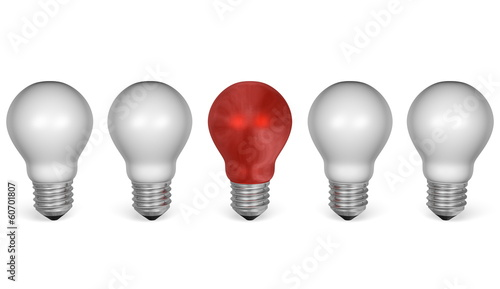 One red light bulb in row of white ones. Front view