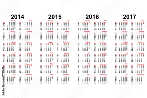 calendar from 2014 to 2018 years | Buy Photos | AP Images | DetailView
