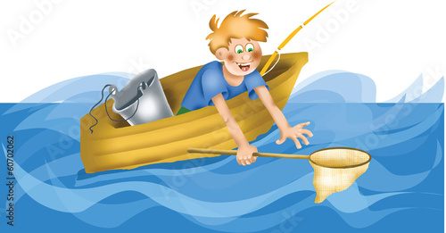 Cartoon fisherman with landing net
